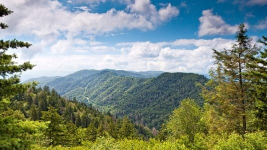 Mountain,Valley,At,Sunny,Day.,Great,Smoky,Mountain,National,Park,